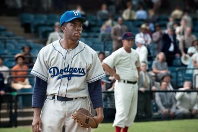 "Chadwick Boseman as Jackie Robinson in ""42"" (Deseret Photo)"