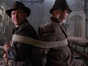 "Harrison Ford, left, and Sean Connery star in ""Indiana Jones and the Last Crusade,"" which is a ""sequel"" to ""Raiders of the Lost Ark."" (Deseret Photo)"