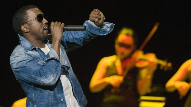 Kanye West performs at the Delta Center in Salt Lake City, Utah Saturday Dec. 17, 2005. (Deseret Photo)