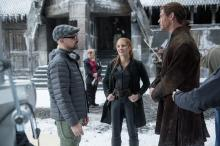 "Director Cedric Nicolas-Troyan, Jessica Chastain and Chris Hemsworth on the set of ""The Huntsman: Winter's War,"" the story that came before Snow White. (Deseret Photo)"