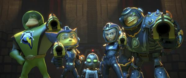 "Captain Qwark (voice of Jim Ward, left) as Ratchet (voice of James Arnold Taylor), Clank (voice of David Kaye), Cora (voice of Bella Thorne) and Stig (voice of Alessandro Juliani) in ""Ratchet and Clank."" (Deseret Photo)"