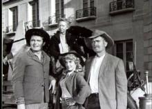 "The primary cast of ""The Beverly Hillbillies,"" clockwise from left, consisted of Max Baer Jr., Irene Ryan, Buddy Ebsen and Donna Douglas. A newly remastered set of the seminal sitcom's first season is now on DVD. (Deseret Photo)"