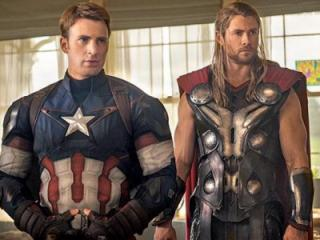 """Captain America (Chris Evans), left, and Thor (Chris Hemsworth) are part of the team of superheroes in """"Avengers: Age of Ultron,"""" now on Blu-ray and DVD. The movie was 2015's second biggest hit (after """"Jurassic World""""). (Deseret Photo)"""