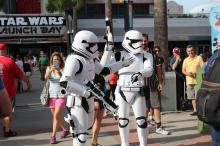 Stormtroopers help visitors get into the mood during this year's Star Wars Day at Disneyland, which has a Star Wars ride. (Deseret Photo)