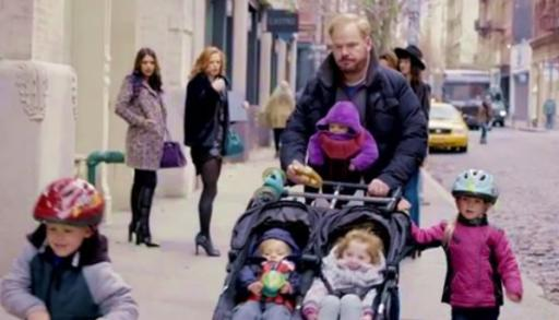 """Jim Gaffigan takes his five children out for a walk in Manhattan on the TV Land sitcom, """"The Jim Gaffigan Show."""" The first season is now on DVD. (Deseret Photo)"""
