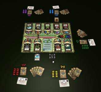 This shows the board and all the components in A Study in Emerald. There are enough components for five players to enjoy the game. (Deseret Photo)