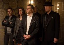 "Jack Wilder (Dave Franco), left, Lula (Lizzy Caplan), J. Daniel Atlas (Jesse Eisenberg), and Merritt McKinney (Woody Harrelson) in ""Now You See Me 2."" (Deseret Photo)"