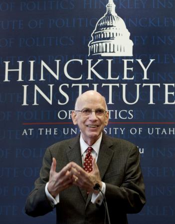 Former Sen. Robert Bennett speaks at his induction ceremony into the Hinckley Institute Hall of Fame at the University of Utah in Salt Lake City on Wednesday, Jan. 27, 2016. (Deseret Photo)
