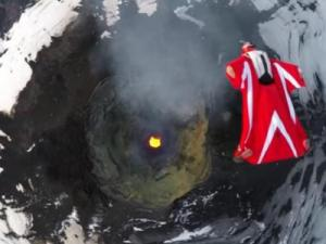 Jumping out of a helicopter in a wing suit is nerve racking enough. Doing that over an active volcano is a whole new level. (Deseret Photo)