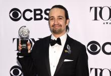 Lin-Manuel Miranda poses in the press room with the award for best musical at the Tony Awards on Sunday, June 12, 2016, in New York. (Deseret Photo)