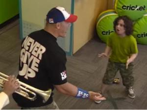 Seeing WWE superstar John Cena rush at you would have to be one of the most terrifying things ever. Well, some fans had that feeling, but their terror soon turned to excitement. John Cena seems like a cool dude. (Deseret Photo)