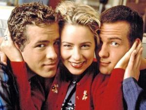 "Ryan Reynolds, left, Traylor Howard and Richard Ruccolo star in ""Two Guys and a Girl."" The entire 1990s sitcom is now on DVD. (Deseret Photo)"