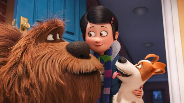 "Giant, fluffy, unruly rescue Duke (Eric Stonestreet), owner Katie (Ellie Kemper) and pampered terrier mix Max (Louis C.K.) in Illumination Entertainment and Universal Pictures' ""The Secret Life of Pets,"" a comedy about the lives our pets lead after we leave for work or school each day. (Deseret Photo)"
