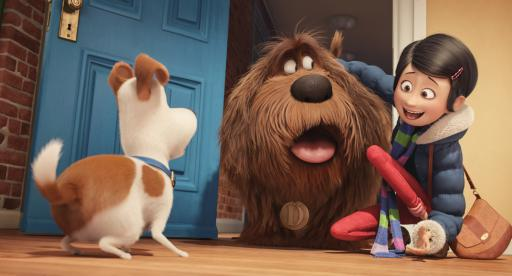 "Pampered terrier mix Max (Louis C.K.) is introduced to giant, fluffy, unruly rescue Duke (Eric Stonestreet) by their owner, Katie (Ellie Kemper), in Illumination Entertainment and Universal Pictures' ""The Secret Life of Pets,"" a comedy about the lives our pets lead after we leave for work or school each day. (Deseret Photo)"
