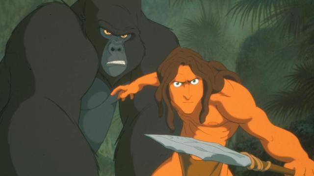 "Kerchak (voiced by Lance Henriksen), left, and Tarzan (Tony Goldwyn) in ""Tarzan."" (Deseret Photo)"