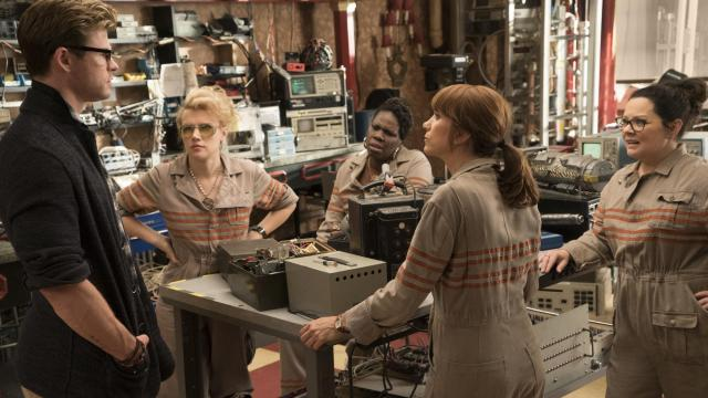 "The Ghostbusters Holtzmann (Kate McKinnon), Patty (Leslie Jones), Erin (Kristen Wiig) and Abby (Melissa McCarthy) with their receptionist Kevin (Chris Hemsworth) in Columbia Pictures' ""Ghostbusters."" (Deseret Photo)"