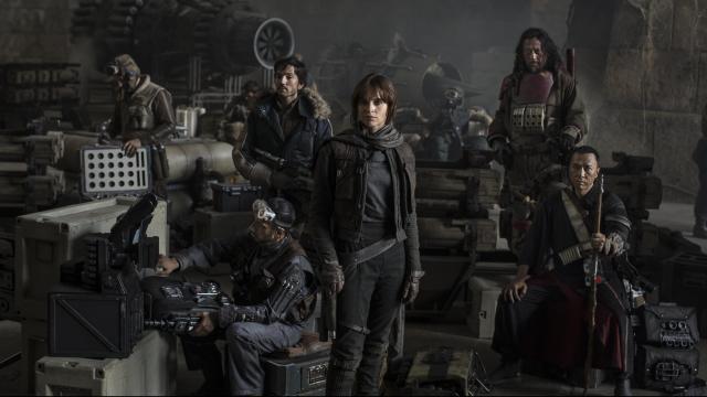 "Riz Ahmed, left, Diego Luna, Felicity Jones, Jiang Wen and Donnie Yen in ""Star Wars: Rogue One."" (Deseret Photo)"