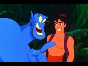"The big blue genie pops out of the magic lamp to grant three wishes to young ""Aladdin"" in the classic Disney cartoon feature, now on Blu-ray for the first time. (Deseret Photo)"