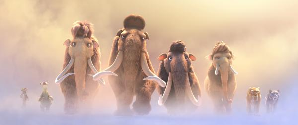 "Buck (voiced by Simon Pegg), left, Sid (voiced by John Leguizamo), Ellie (voiced by Queen Latifah), Manny (voiced by Ray Romano), Julian (voiced by Adam Devine), Peaches (voiced by Keke Palmer), Diego (voiced by Denis Leary) and Shira (voiced by Jennifer Lopez) embark on a quest in ""Ice Age: Collision Course."" (Deseret Photo)"