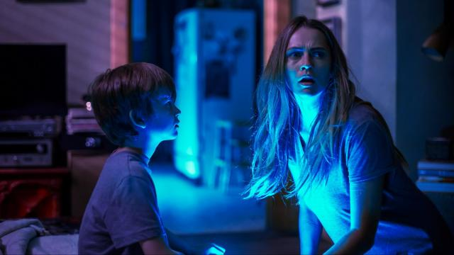 "Gabriel Bateman as Martin and Teresa Palmer as Rebecca in ""Lights Out."" (Deseret Photo)"