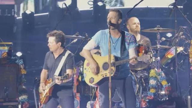 "Michael J. Fox took a trip back in time to play the classic tune, ""Johnny B. Goode"" with Coldplay. (Deseret Photo)"