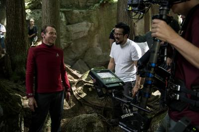 "From left, Simon Pegg and director Justin Lin on the set of ""Star Trek Beyond."" (Deseret Photo)"