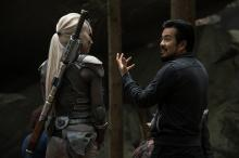 "Sofia Boutella and director Justin Lin on the set of ""Star Trek Beyond."" (Deseret Photo)"