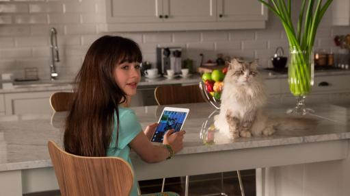 "Rebecca Brand (Malina Weissman) and her father-turned-cat (voice of Kevin Spacey) in ""Nine Lives."" (Deseret Photo)"
