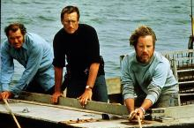 "Robert Shaw, left, Roy Scheider and Richard Dreyfuss track a great white shark in ""Jaws"" (1975). (Deseret Photo)"