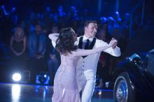 "Dance pro Cheryl Burke with Olympic swimmer Ryan Lochte dance the foxtrot on ABC's ""Dancing with the Stars"" on Monday, Sept. 21, before protesters interrupted the show. (Deseret Photo)"