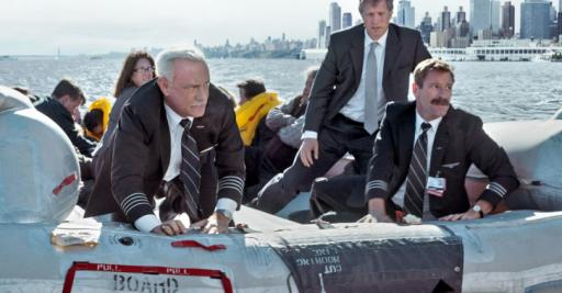 "Capt. Chelsey Sullenberger (Tom Hanks), far left, and First Officer Jeff Skiles (Aaron Eckhart), far right, star in ""Sully,"" the true story of the miracle on the Hudson, when a passenger airliner landed off Manhattan in the Hudson River. (Deseret Photo)"