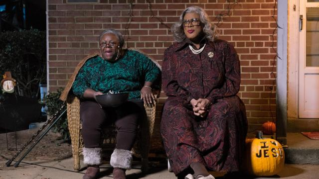 "Aunt Bam (Cassi Davis, left) and Madea (Tyler Perry) in ""Tyler Perry's Boo! A Madea Halloween."" (Deseret Photo)"