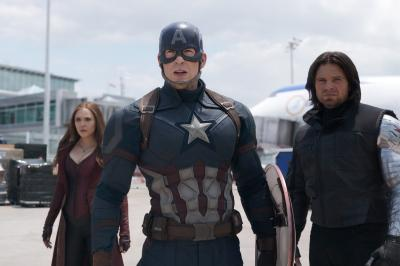 "From left, Scarlet Witch (Elizabeth Olsen), Captain America (Chris Evans) and Winter Soldier (Sebastian Stan) prepare to square off against other members of the Avengers team in ""Captain America: Civil War,"" now on Blu-ray and DVD. (Deseret Photo)"