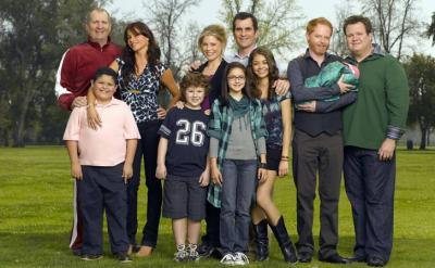 "The ensemble cast of the popular, award-winning TV sitcom ""Modern Family."" Season 7 is now on DVD. (Deseret Photo)"