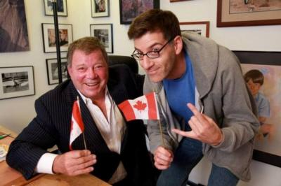"William Shatner, left, is with comedian-filmmaker Rob Cohen on the set of the documentary ""Being Canadian,"" now on DVD. (Deseret Photo)"