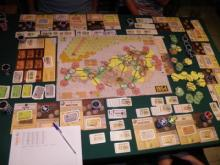 There are a lot of moving parts to the game. The main map is surrounded by stock certificates, money, railway companies and track of various colors. This is a complex and challenging game. (Deseret Photo)