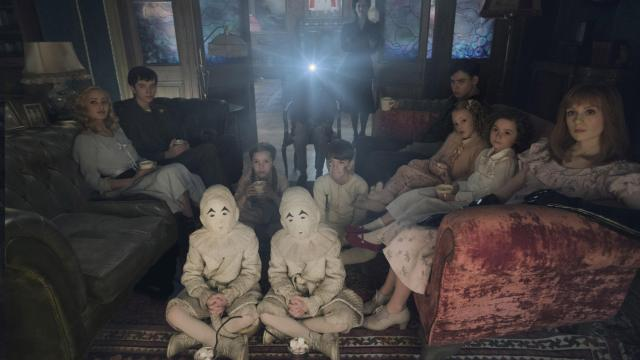Seated on the floor: the twins (Thomas and Joseph Odwell), Fiona (Georgia Pemberton) and Hugh (Milo Parker), Left to right: Emma (Ella Purnell), Jake (Asa Butterfield), Horace (Hayden Keeler-Stone), Miss Peregrine (Eva Green), Enoch (Finlay Macmillan), Claire (Raffiella Chapman), Bronwyn (Pixie Davies) and Olive (Lauren McCrostie) - are the very special residents of MISS PEREGRINE'S HOME FOR PECULIAR CHILDREN. (Deseret Photo)