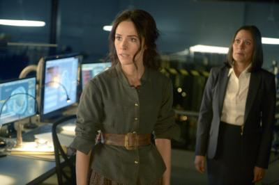 "TIMELESS -- ""The Alamo"" Episode 104 -- Pictured: (l-r) Abigail Spencer as Lucy Preston, Sakina Jaffrey as Denise Christopher -- (Photo by: Sergei Bachlakov/NBC) (Deseret Photo)"