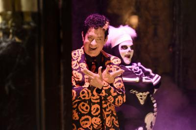 "Tom Hanks is David Pumpkins with Bobby Moynihan during the ""Haunted Elevator"" Saturday Night Live sketch on Oct. 22. (Deseret Photo)"