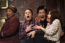 "From left, Kenan Thompson, Beck Bennett, Tom Hanks as David Pumpkins, and Kate McKinnon act in the ""Haunted Elevator"" Saturday Night Live sketch on Oct. 22. (Deseret Photo)"