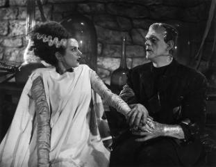 "Elsa Lanchester is the reluctant bride of the Frankenstein Monster (Boris Karloff) in ""The Bride of Frankenstein"" (1935). (Deseret Photo)"