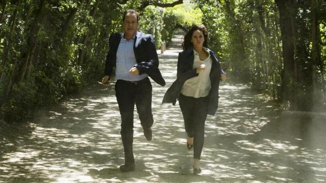 "Langdon (Tom Hanks) and Sienna (Felicity Jones) run for their lives through Florence's Boboli Gardens in ""Inferno."" (Deseret Photo)"