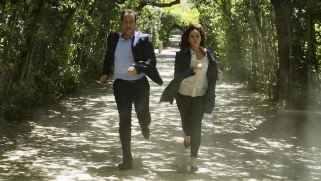"Langdon (Tom Hanks) and Sienna (Felicity Jones) run for their lives through Florence's Boboli Gardens in ""Inferno."" (Deseret Photo)"
