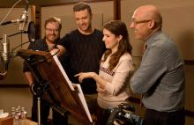 """Trolls"" co-director Walt Dohrn, Anna Kendrick, Justin Timberlake and director Mike Mitchell in the recording studio at DreamWorks Animation in Glendale, Calif. (Deseret Photo)"