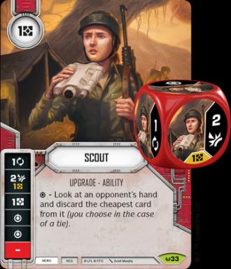 In the Star Wars Destiny game, an upgrade card and accompanying die look like this. By paying a resource, this card can be attached to a current character to give him or her the scout ability. It then adds an extra die with abilities to that character. (Deseret Photo)