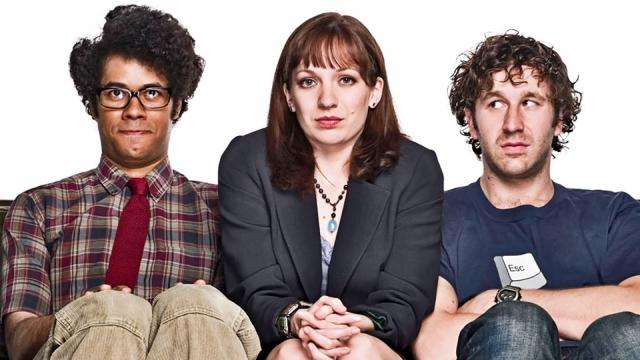 "Richard Ayoade, left, Katherine Parkinson and Chris O'Dowd star in the British sitcom ""The IT Crowd."" The complete series is now on DVD. (Deseret Photo)"