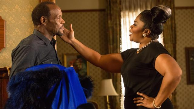 "Walter (Danny Glover) shares a moment with Aunt May (Mo'nique) in ""Almost Christmas."" (Deseret Photo)"