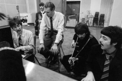"From left, John Lennon, Ringo Starr (in back), producer George Martin, George Harrison and Paul McCartney work on a Beatles album in the new documentary ""Soundbreaking,"" now on Blu-ray and DVD. (Deseret Photo)"