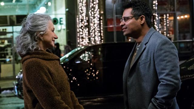 "Helen Mirren as Brigitte and Michael Pena as Simon in ""Collateral Beauty."" (Deseret Photo)"