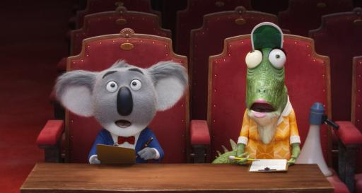 "In ""Sing,"" a koala named Buster Moon (Matthew McConaughey) works to keep his theater from closing down. His assistant is Matilda Crawley (Garth Jennings), an elderly green iguana. (Deseret Photo)"